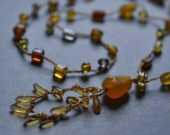 Amber Beachglass crocheted long tunic necklace