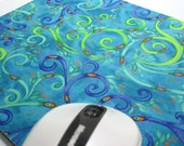 Buy 2 FREE SHIPPING Special!!   Mouse Pad, Fabric Mousepad    Whimsical Peacock Feathers
