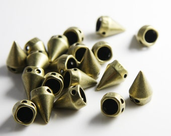 20pcs Antique Brass Tone Base Metal Spacers-Conical or Spikes- Two Holes 15x10mm (19681Y-C-292B)