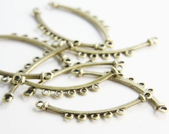 10pcs Antique Brass Tone Base Metal 5 Strand Component - Earring Findings - Link 43x8mm (23078Y-O-264)