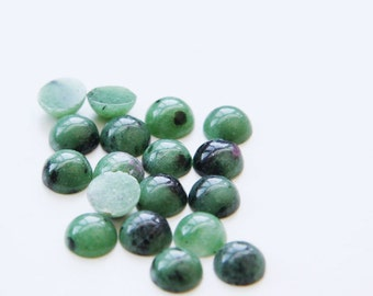 12 Pieces Natural Zoisite Ruby Stone Cabochons-8mm (08ZOIT) (B-5-4)