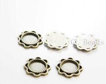 20pcs Antique Brass Tone Base Metal Findings-Cameo Setting 14mm (2846X-B-449)