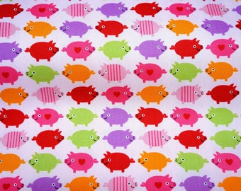 Japanese fabric pig print pink background color fat quarter nc35