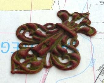 filigree pendant, fleur de lis VINE olive green and wine hand painted charm pendant 2 pcs, green fleur de lis