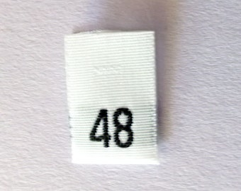 Size 48 (forty eight)  Woven Clothing Size Tags (Package of 50)