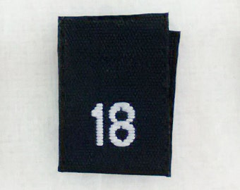 Size 18 (Eighteen) BLACK- Woven Clothing Size Tags (Package of 50)