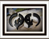 "Fake Gauge Earrings - Organic Black Sono Wood ""Whale Tail Inspired"" Tribal Expanders"