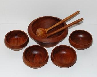 Danish Modern Teak Wood Salad Bowls & Servers, Set of 7