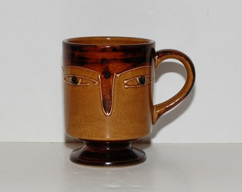 Vintage Modernist Pottery  Face Mug, circa 1950s - 1960s