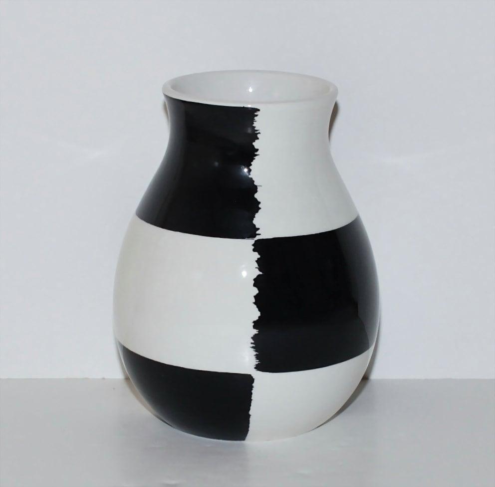 Bitossi Italy Pottery Black Amp White Checkered Vase