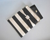 "iPad and Kindle Fire HD 8.9"" Clutch Case ""Black Stripe with Bow"""