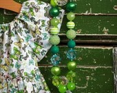 Sassy Grass Green Chunky Necklace for Girls by Dreamspun