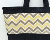For Enjoli Natural, Yellow, and Shades of Grey Chevron & Denim Tote and Pink Floral Tote