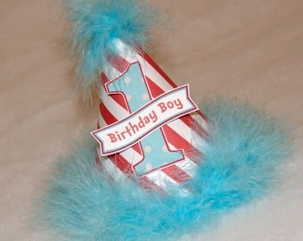 Red Striped Dr. Seuss Boys Party Hat