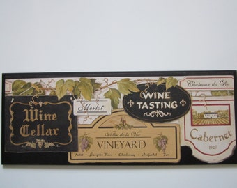 Wine Cellar wall decor plaque, Tuscany kitchen wooden sign, Italian French, black accents