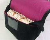 Coupon Organizer Holder Mega Large Black Heavy Duty Fabric Aqua Purple Plum Lining