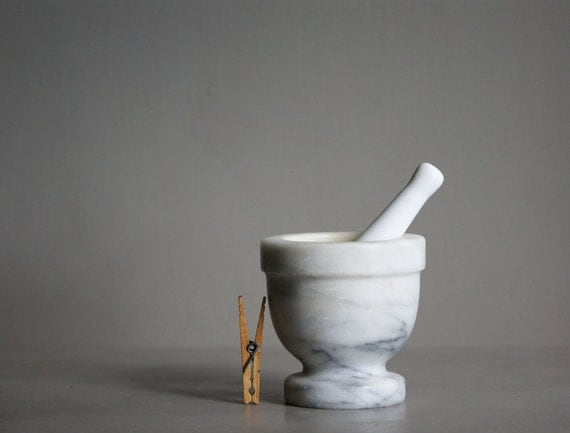Grey Marble Mortar with Porcelain Pestle