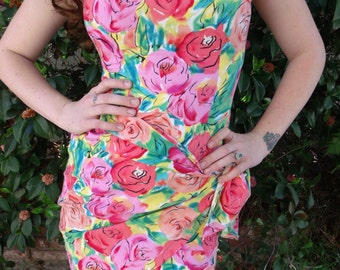 Vintage Floral Onesie. Day Dress. Pink Floral Mini Dress. Wrap Skirt. Betsey Johnson Style Dress