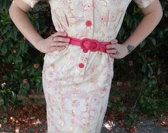 Vintage 60's Secretary Day Dress. Mad Men. Deep Pink and Cream Button Down Dress