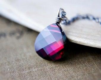 Crystal Crimson Necklace Swarovski Wire Wrapped Fuchsia Pendant Sterling Silver PoleStar
