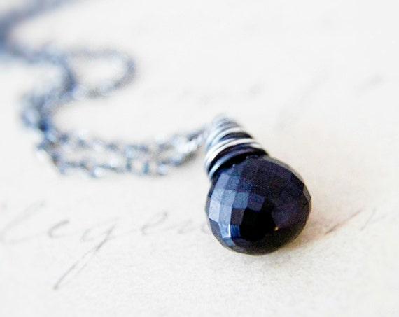 Black Stone Necklace Onyx Silver Pendant Simplistic Minimalist Modern Noir PoleStar