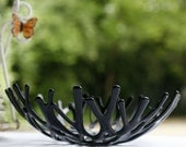Fused Glass Bowl - Intertwined - black