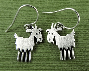 Tiny goat earrings