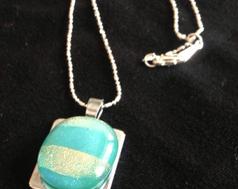 Dichroic fused glass pendant - stripes - turquoise blue and gold pendant // dichro stainless steel pendant plate