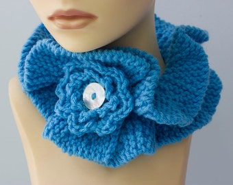 Knit Ruffled Neck Warmer with Flower, Cornflower Blue Scarf,  Vegan Collar,  Ruffle Scarf, Cowl Scarf
