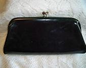 SALE! Vintage Black Patent Leather Clutch Purse Evening Bag