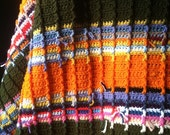 Signature Ranch Afghan in Bright Orange and Forest Floor Green