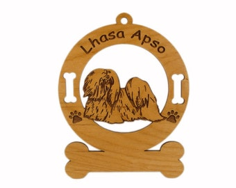 3499 Lhasa Apso Standing Personalized Dog Ornament
