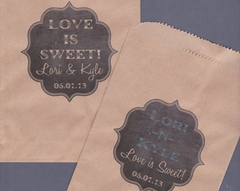Candy Buffet Bag, Kraft Paper Bag, Custom Candy Bag, Cookie Bag, Candy Bag, Favor Bag, Treat Bag, Personalized, Chalkboard, Chalk Set of 40