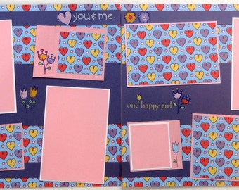 YOU & ME 12 x 12 premade scrapbook pages - girl