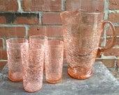 VIntage Pink Handblown Crackle Glass Pitcher and 4 Glasses Set