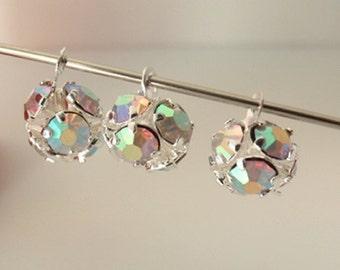12 Tiny Brass AB Rhinestone Bead Drops, Jewelry Making Supply, Grade A Rhinestones, Silver Plated Brass Round Pendant Drop