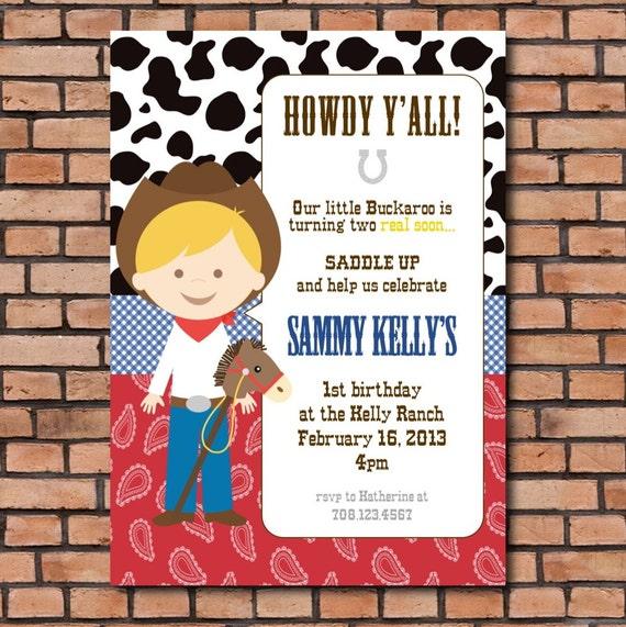 items similar to cowboy party invitation, cowgirl party invitation, Party invitations