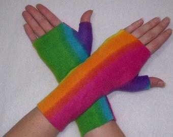 Fingerless Gloves Fleece / Bright Rainbow Stripe / You Choose Size