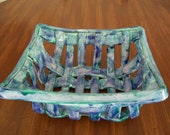 Rectangular Woven Bowl With Holes Pottery bread warmer baker fruit bowl great gift