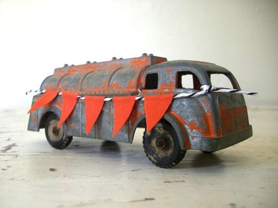 Vintage Orange Hubley Tanker Truck, With a Handmade Sweet Orange Bunting Banner
