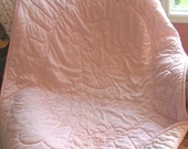 SET - Hand quilted Pink & Pink Princess with Crown Tricot Baby Quilt and Tricot Wubby - Satin Feel
