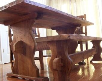 Bavarian Style Reclaimed Barnwood Trestle Table