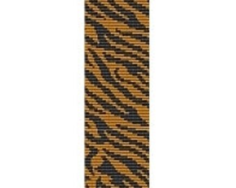 2 Patterns for 1 Price - Tiger Safari Cuff and Thin Bracelets - Loom or 2 Drop Even Peyote Bead Patterns