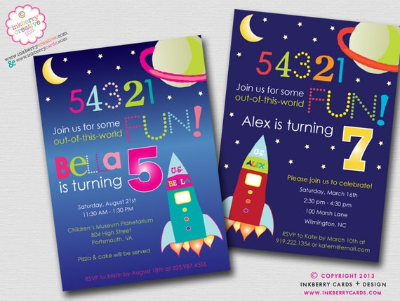 Out of this world space theme birthday party invitation for Space themed stationery