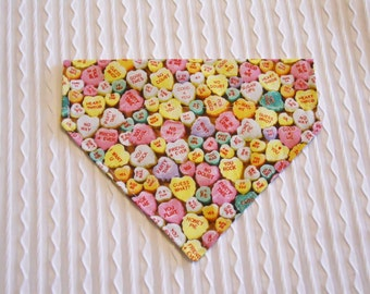 Dog Bandana with Candy Hearts in Dog Collar Style Sizes XS to XL
