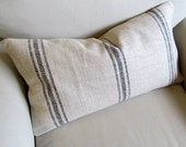 FRENCH LAUNDRY  12x25 Sofa Pillow in BLACK Stripes with insert