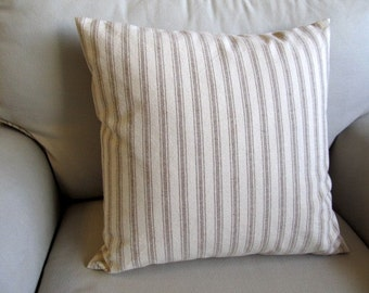 COTTAGE CASUAL in burlap color stripes pillowcover square 16-17-18-19-20-21-22-24-26
