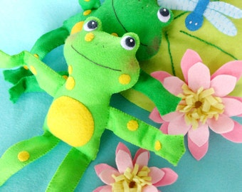 Felt Frog Softies Toy Sewing Pattern - PDF ePATTERN for Frogs, Lily Pad, Lily & Dragonfly Play Set