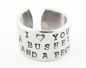 I Love You a Bushel and a Peck Ring - Adjustable Ring - Silver Ring - Custom Ring - Mother's Day Gift for Mom - Ring Band - Size 7 Ring
