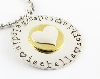 Sterling Silver Heart Necklace - Custom Necklace - Brass Necklace - Mother's Day Gift - Gift for Mom - Personalized Necklace - Name Necklace